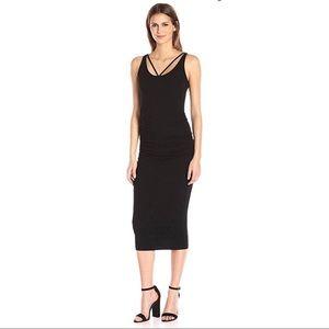 Michael Stars front to back black midi dress